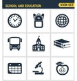 Icons set of premium quality of elementary school vector image