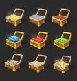 isometric treasure chests set vector image