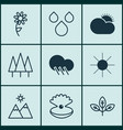 set of 9 harmony icons includes landscape vector image