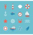 Decorative nautical icon set Marine theme vector image