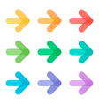 Cute colorful transparent arrow icons set vector image