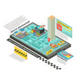 taxi service online isometric infographics vector image