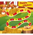 boardgame template with chicken in the farm vector image vector image