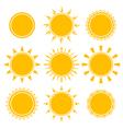 set of shiny bright yellow sun vector image