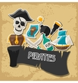 Background on pirate theme with stickers and vector image