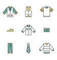 Clothing garments and accessories icons flat vector image
