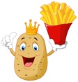 King chef potato holding a french fries vector image