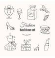 fashion hand drawn elements set Hand vector image