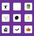 Flat icon halloween set of crescent pumpkin vector image
