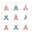 Set color icons of scissors with cut line vector image
