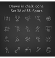 Sport icon set drawn in chalk vector image