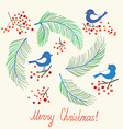 Christmas card with birds - retro design vector image
