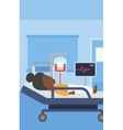 Woman lying in hospital bed vector image
