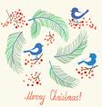 Christmas card with birds - retro design vector image