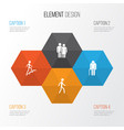 people icons set collection of jogging ladder vector image
