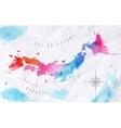 Watercolor map Japan pink blue vector image