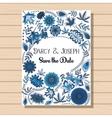 Autumn wedding invitation blue on wooden vector image
