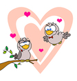 Two Turtle Doves By A Branch In Front Of A Heart vector image