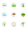 Environment icons set cartoon style vector image
