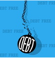 debt with metal ball and chain break vector image