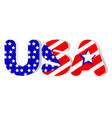 USA word in flag colors vector image vector image