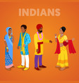 isometric indian people in traditional clothes vector image