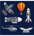 air mechanics and mechanisms icons set vector image
