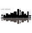 las vegas city skyline black and white silhouette vector image