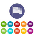 american flag icons set flat vector image