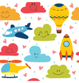 Cute seamless pattern with plane helicopter hot vector image