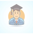 Graduated boy man in an academic cap icon vector image
