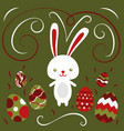 happy easter rabbit easter funny bunny and eggs vector image