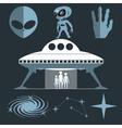 Digital silver and white cosmic ufo alien vector image
