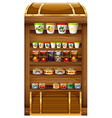 Shelves full of canned food vector image