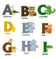 alphabet with animals a to i vector image