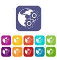 world planet and gears icons set flat vector image vector image