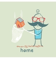 man catches a butterfly net house vector image vector image