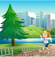 A girl running at the riverbank with a tall pine vector image