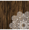 Napkin lace corner on a wooden table Scrapbook vector image