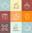 set of coffee logos and icons vector image