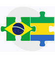 Brazil and Gabon Flags vector image