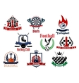 Sports games emblems icons and symbols vector image