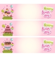 Happy Birthday card background with cakes vector image