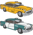 Old taxi cabs vector image