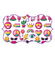 pattern shape label with patches retro fashion vector image