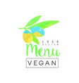 vegan menu logo design element for vegetarian vector image