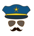 blue hat glasses and mustache police vector image