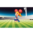 A soccer field with an energetic cheerdancer vector image