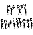 Children silhouettes with Merry Christmas message vector image