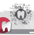 Hand drawn tooth icons with icons background vector image vector image